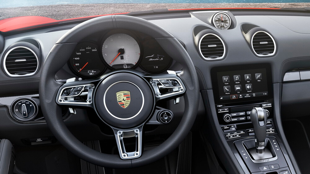 Porsche 718 boxster tous au turbo for Interieur porsche
