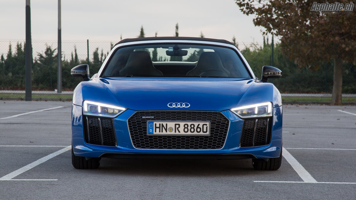 Essai Audi R8 V10 Spyder Ara Blau