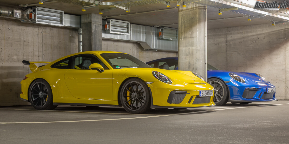 Essai Porsche 991.2 GT3 Racing Yellow Saphire Blue