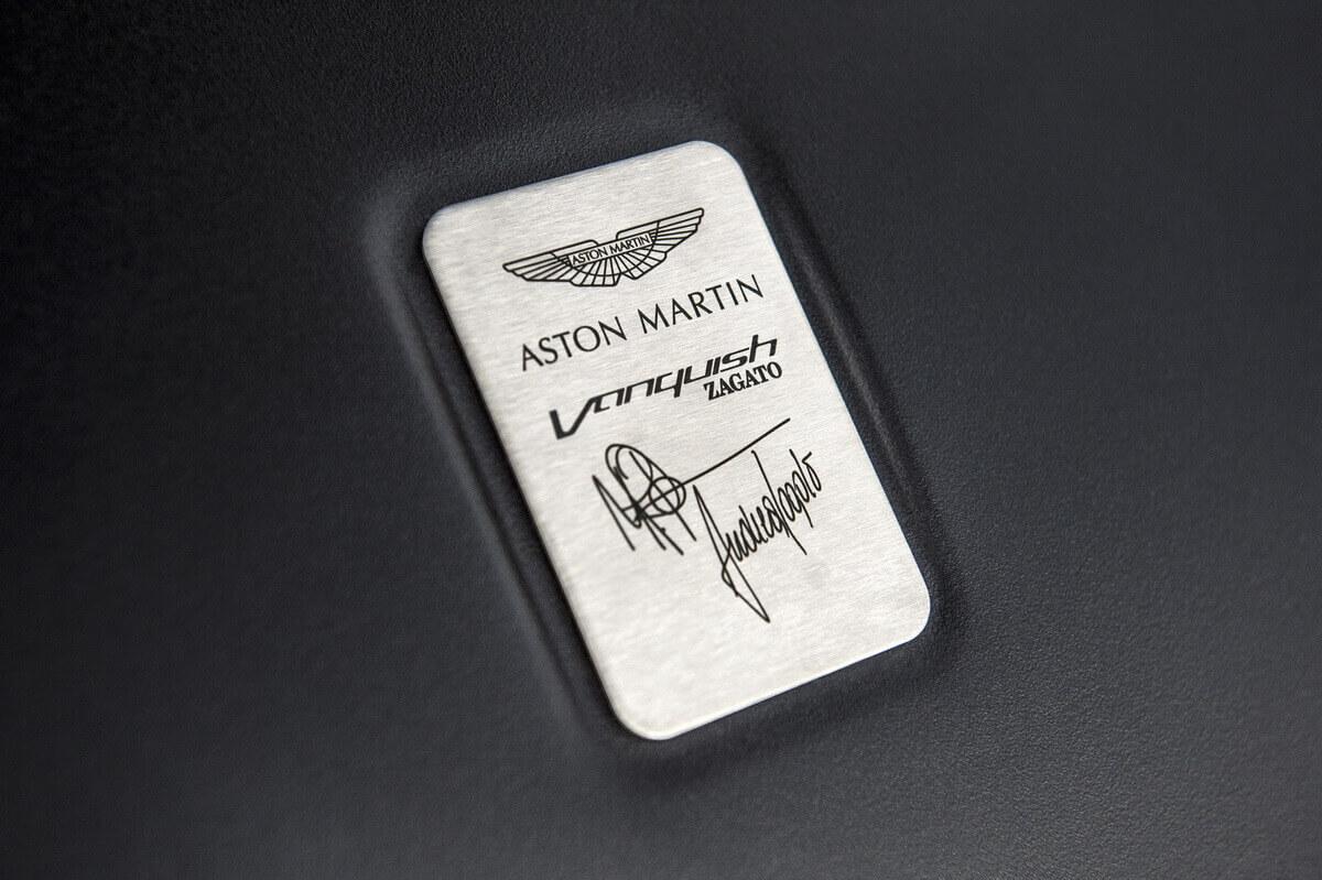 Aston Martin Vanquish Zagato Volante plaque