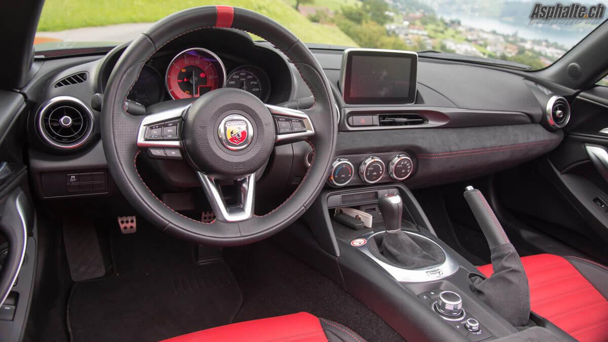 Essai Fiat Abart 124 Spider tableau de bord intérieur