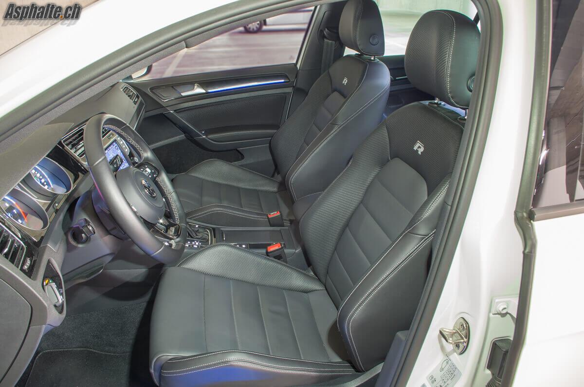 Essai VW Golf VII R 360 S intérieur sièges nappa carbone