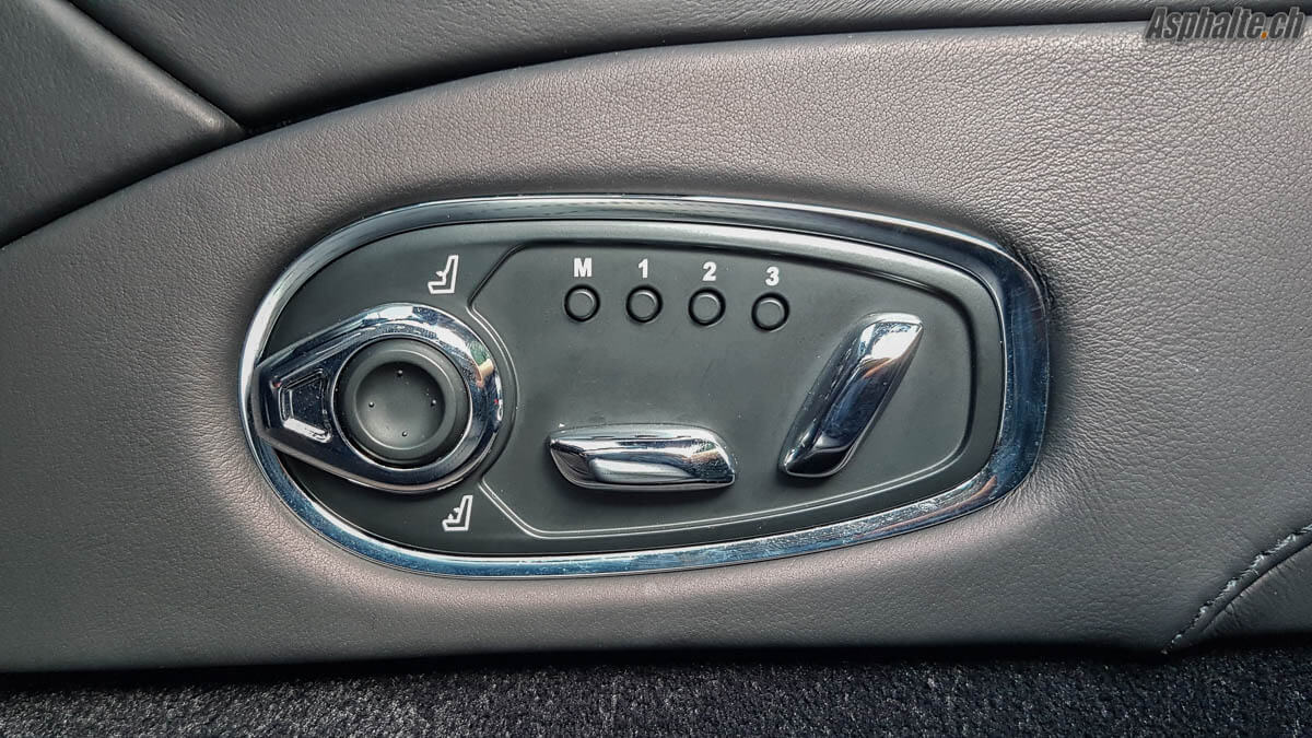 Essai Aston Martin DB11 V12 intérieur réglage de sièges