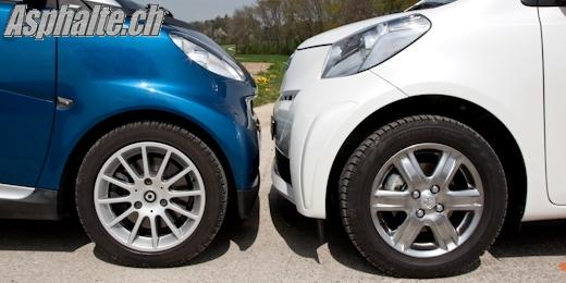 Essai comparatif Toyota iQ Smart ForTwo avant