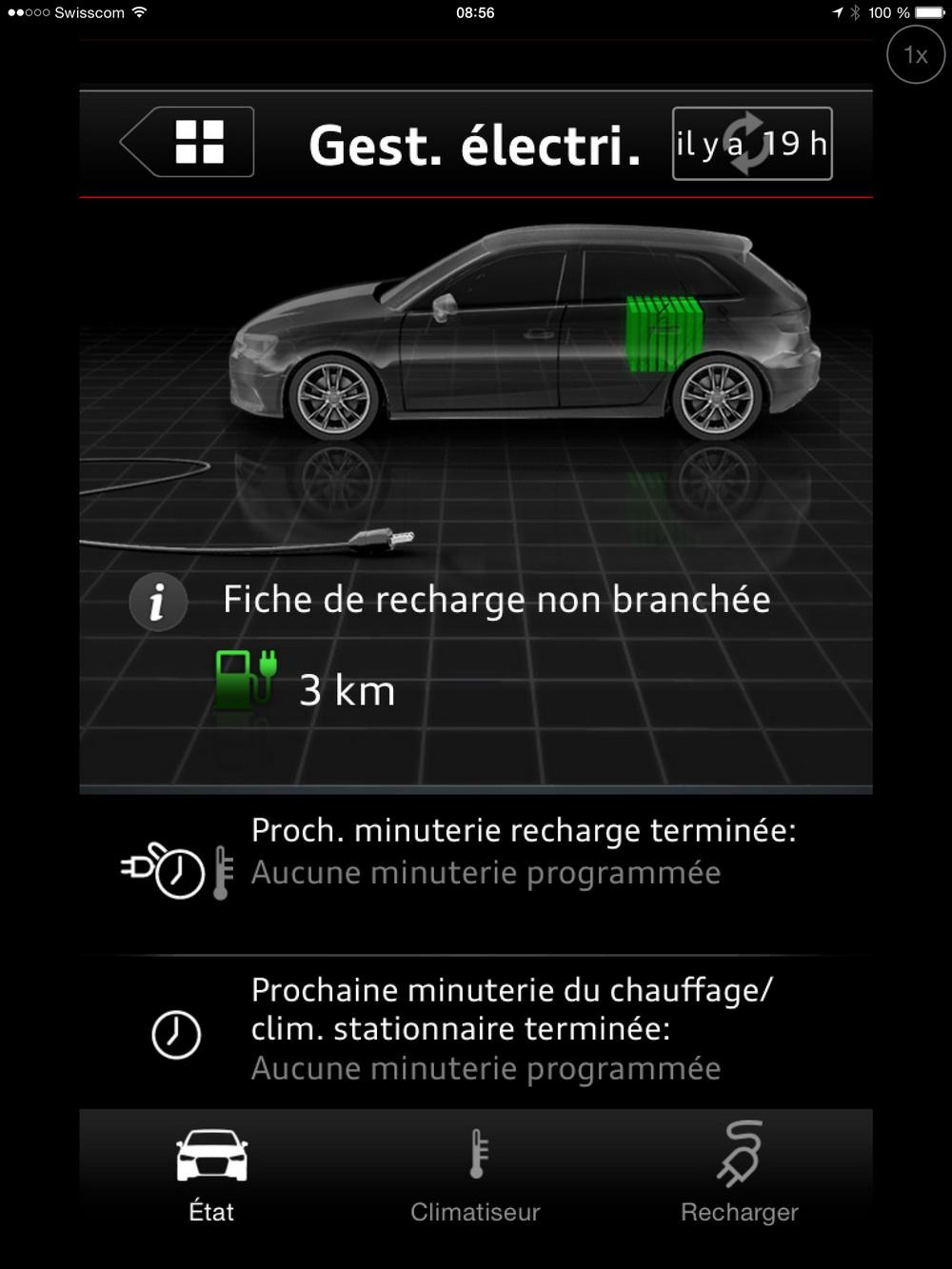 Essai Audi A3 e-tron Application de commande