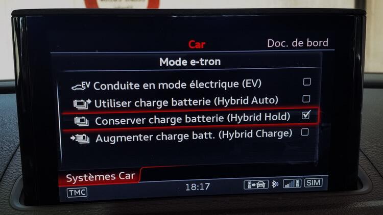 Audi A3 e-tron modes EV